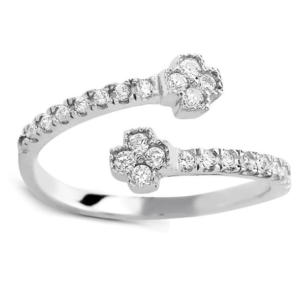925 Sterling Silver Cubic Zirconia Clover Midi Ring