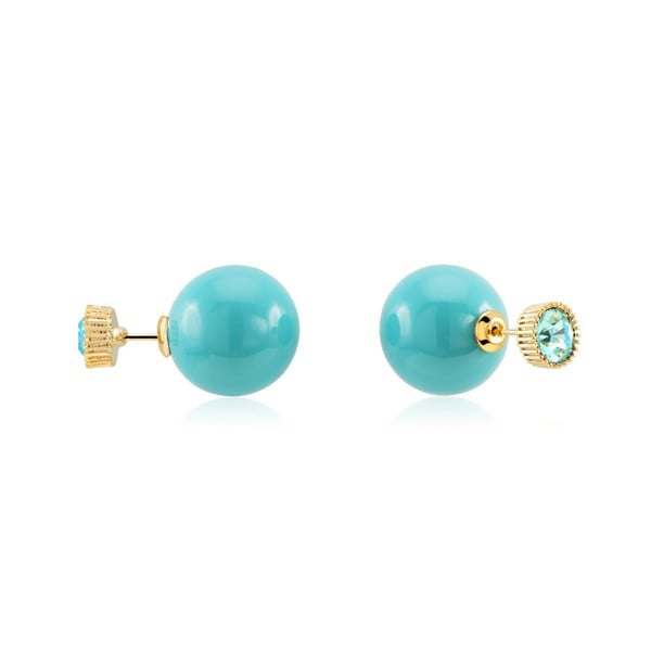 Goldplated 16mm Aqua Epoxy and 8mm Aqua Cubic Zirconia Double Stud Earrings