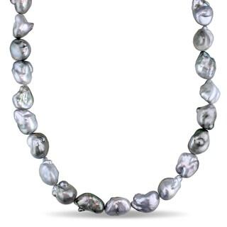 Miadora Signature Collection 14k White Gold Tahitian Platinum Pearl Diamond Accent Necklace (11-14 mm)