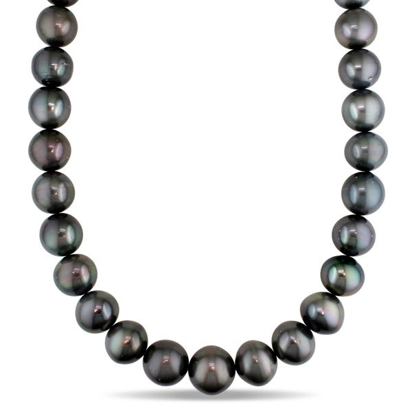 Miadora 14k White Gold Tahitian Pearl Diamond Accent Necklace (15-17.8 mm)
