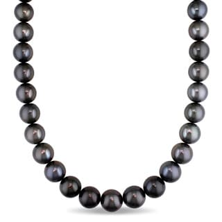 Miadora 14k White Gold Tahitian Pearl Diamond Accent Necklace (12-15.9 mm)
