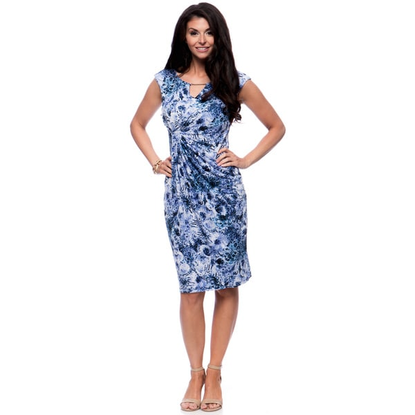 Connected Apparel Women's Blue Abstract-Print, Ruched Waist Sheath Dress with Bar Keyhole