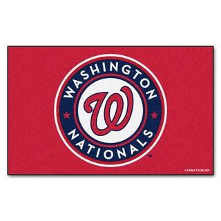 Fanmats Machine-made Washington Nationals Red Nylon Ulti-Mat (5' x 8')