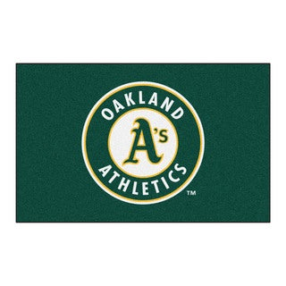 Fanmats Machine-made Oakland Athletics Green Nylon Ulti-Mat (5' x 8')