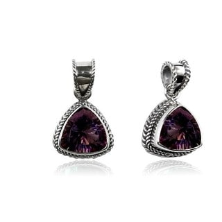 Handmade .925 Sterling Silver Faceted Trillion Mystic Topaz Pendant (Indonesia)