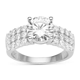 Charles & Colvard 14k White Gold 2.92 TGW Round Forever Brilliant Moissanite Solitaire Ring with Sidestones