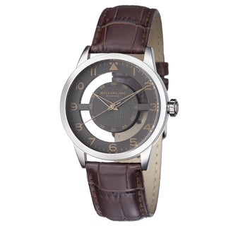 Stuhrling Original Men's Aviator Japan Quartz Leather Strap Watch