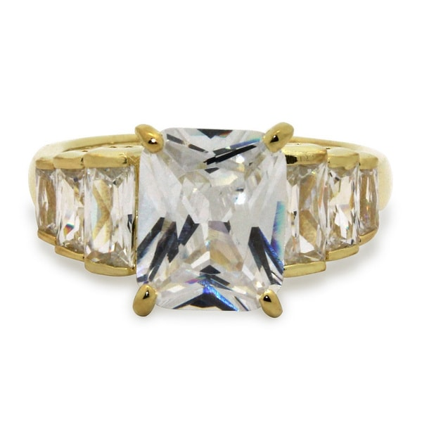 Sterling Silver Yellow Gold Plated Emerald-cut Cubic Zirconia Designer Ring