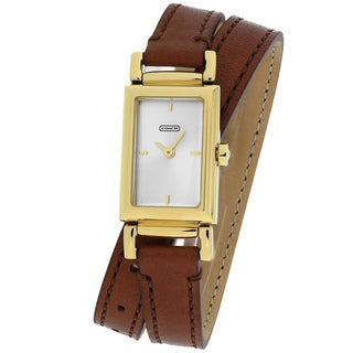 Coach Women's 14501872 Classic Rectangle Brown Leather Strap Watch