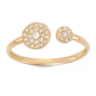 Gioelli 10K Gold Cubic Zirconia Pave Double Circle Ring