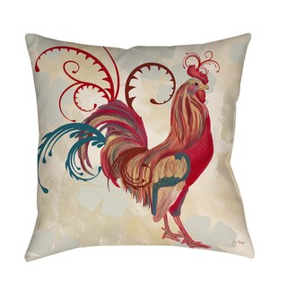 Thumbprintz Teal Rooster I Indoor/ Outdoor Pillow