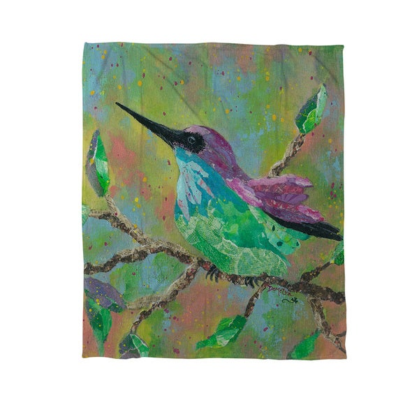 Thumbprintz Hummingbird Coral Fleece Throw