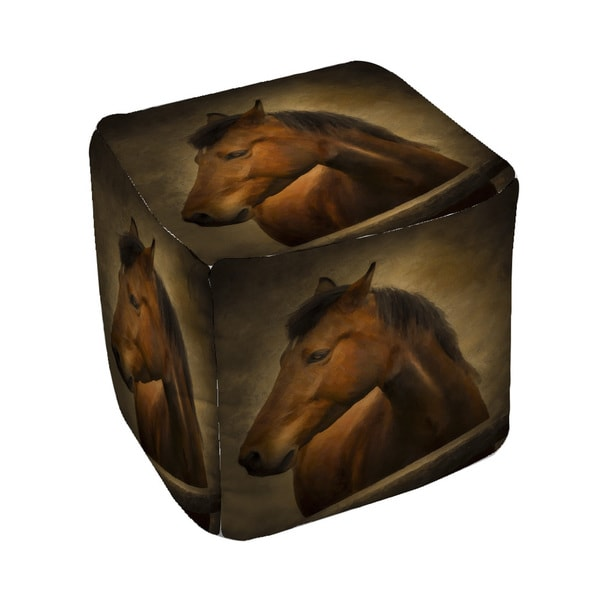 Thumbprintz Chestnut Horse at Fence Pouf