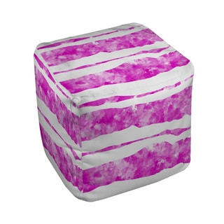 Thumbprintz Summer Florals Pink Stripe Pouf