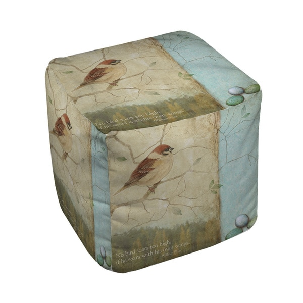 Thumbprintz Bird Quote Sparrow Pouf
