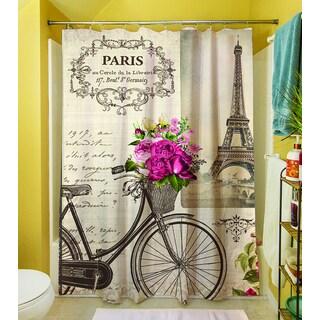 Thumbprintz Springtime in Paris Bicycle Shower Curtain