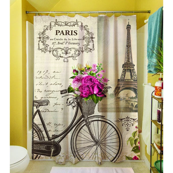 Thumbprintz Springtime In Paris Bicycle Shower Curtain