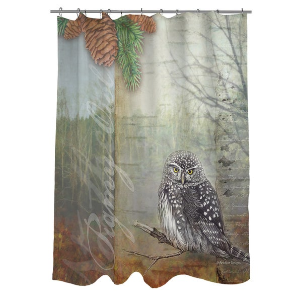 thumbprintz conifer lodge owl shower curtain 17248686