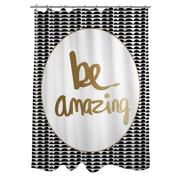 Thumbprintz Be Amazing Black and Gold Shower Curtain 15327185