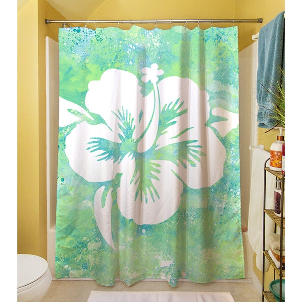 Thumbprintz Sponge Paint Hibiscus Shower Curtain