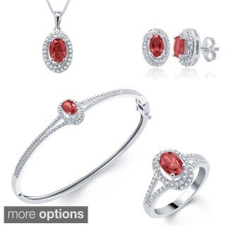 Rhodium-plated Gemstone Diamond Accent 4-piece Jewelry Set