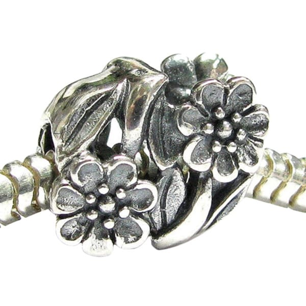 Queenberry Sterling Silver Flower Leaves European Bead Charm