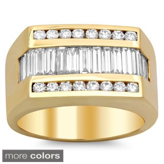 14k Gold Men's 2 1/4 ct TDW Diamond Ring (E-F, VS1-VS2)