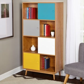 Simple Living Parker Bookcase with Multiple Colors Sliding Doors