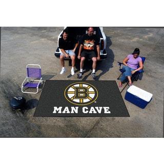 Fanmats Machine-made Boston Bruins Black Nylon Man Cave Ulti-Mat (5' x 8')