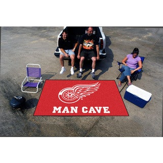 Fanmats Machine-made Detroit Red Wings Red Nylon Man Cave Ulti-Mat (5' x 8')