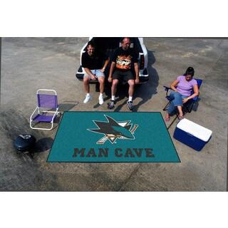 Fanmats Machine-made San Jose Sharks Turquoise Nylon Man Cave Ulti-Mat (5' x 8')