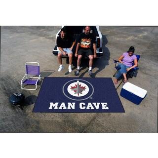 Fanmats Machine-made Winnipeg Jets Blue Nylon Man Cave Ulti-Mat (5' x 8')