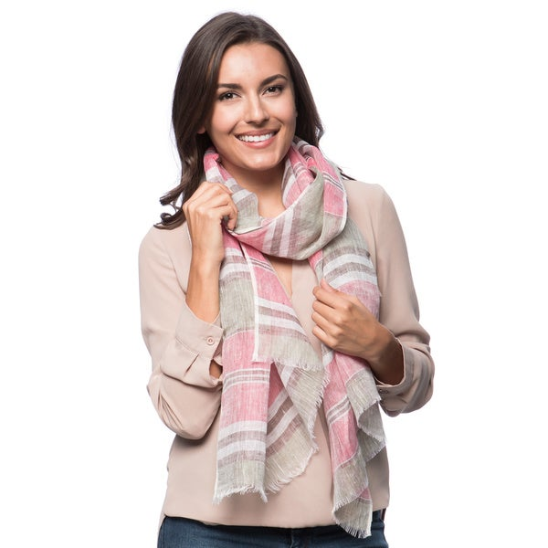 Light Green and Pink Striped Linen Scarf (India) 15328207