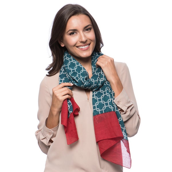 Blue Link Pattern Cotton Scarf (India)