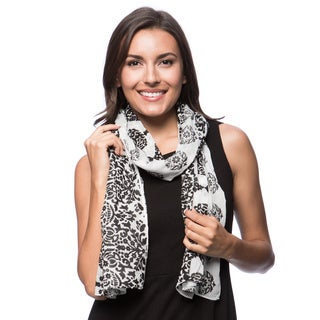 Black and White Paisley Cotton Scarf (India)