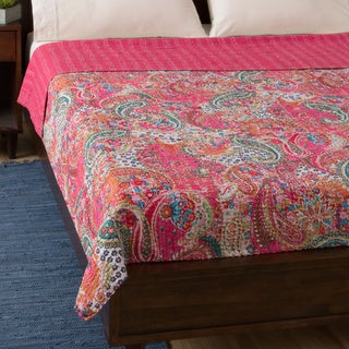 Pink Paisley Cotton Kantha Bed Cover (India)