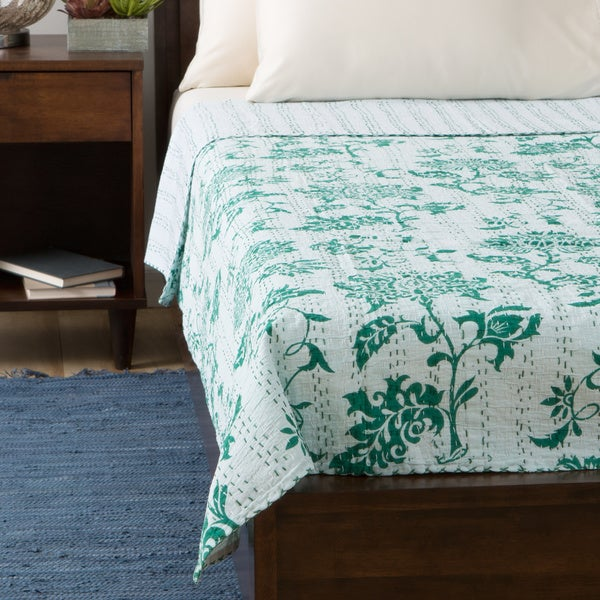 Green Lotus Design 60 x 90-inch Cotton Bedspread (India)