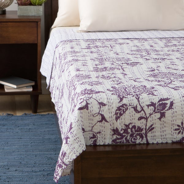 Purple Lotus Design 100-percent Kantha 60 x 90-inch Bed Cover (India)