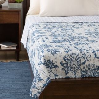 Blue Lotus Design 60 x 90-inch Cotton Kantha Bed Cover (India)
