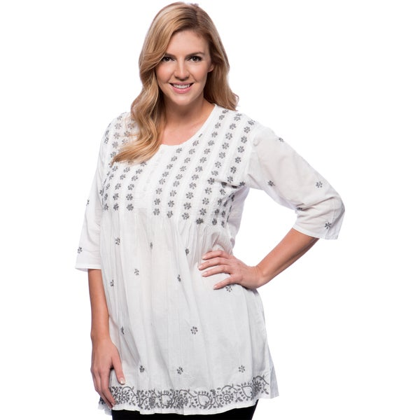 Women's White and Grey Floral Embroidered Tunic (India)