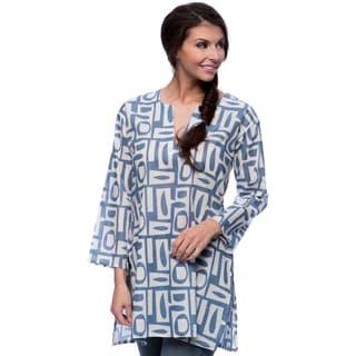 Women's Geometrical Blues Cotton Tunic (India)