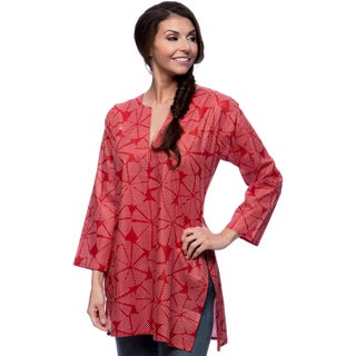 Women's Red Discs and White Dots Cotton Tunic (India)