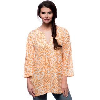 Women's Rust Flowers Orange and White Cotton Tunic (India)