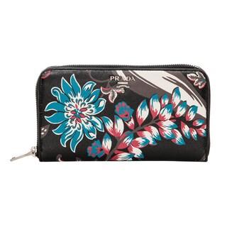 Prada Floral Saffiano Zip Around Wallet