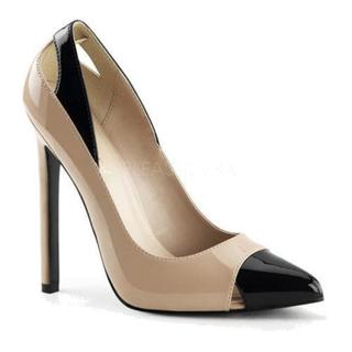 Women's Pleaser Sexy 22 Pump Nude/Black Patent 15330340