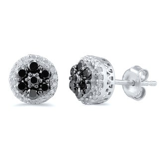 Sterling Silver Black and White Diamond Accent Cluster Round Earrings (I-J, I2-I3)
