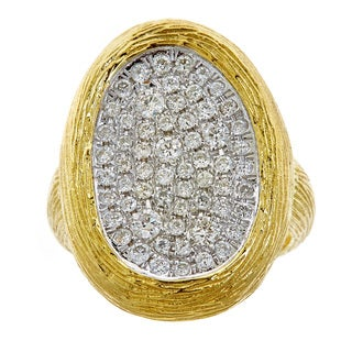 14k Yellow Gold 7/8ct TDW Diamond Oval Textured Ring (H-I,SI1-SI2)