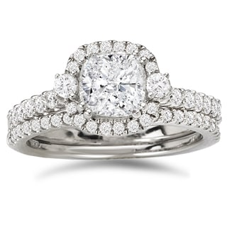Avanti 14k White Gold 1 3/5ct TDW Certified Cushion-cut Diamond Halo Bridal Ring Set (G-H, SI1-SI2)