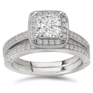 Avanti 14k White Gold 1 2/5ct TDW Certified Princess-cut Diamond Halo Bridal Ring Set (G-H, SI1-SI2)