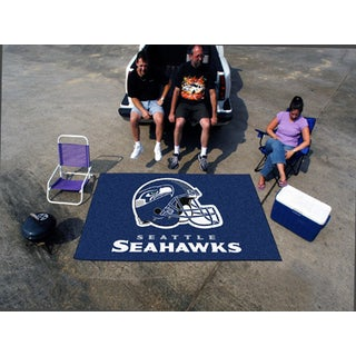 Fanmats Machine-made Seattle Seahawks Blue Nylon Ulti-Mat (5' x 8')